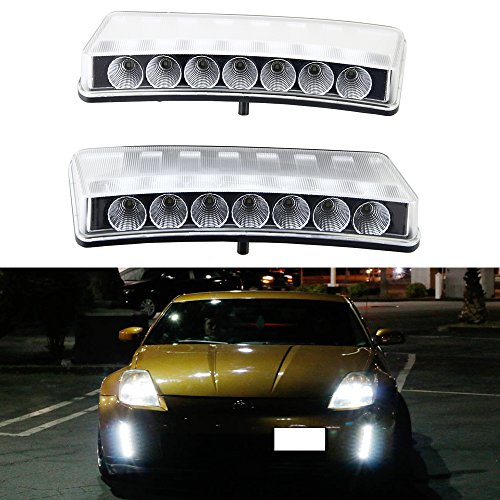 High Power 7-LED DRL Light - NSLUMO Clear Lens Front Bumper Reflector LED Daytime Running Lights Direct Fit for 2003-2005 Pre-LCI Nissan 350Z only (2003-2005 Pre-LCI Nissan 350Z only Clear Lens)