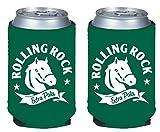 Beer Can or Bottle Beverage Holder Koozie Coolers - Coors, Miller, Budweiser More (Rolling Rock - Can Kaddy 2-Pack)