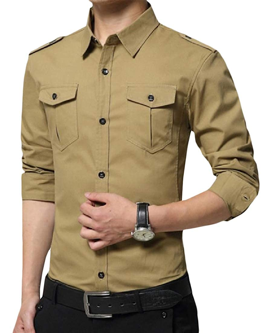 C/&H Mens Pocket Turn Down Tops Long Sleeve Dress Button Up Shirts