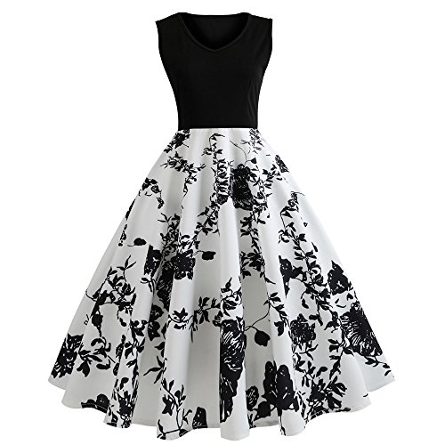 Women A-Line Vintage Floral Sunflower Print Sundress Bodycon Sleeveless Retro Casual Evening Party Prom Swing Summer Dress (s, BW)