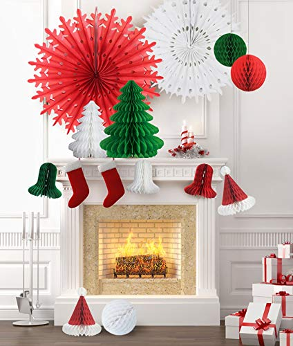 Homeycomb Paper Christmas Decorations hanging over a fireplace