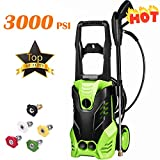 Kioles 3000 PSI Electric Pressure Washer, High Pressure Washer, Professional Washer Cleaner Machine with 5 Interchangeable Nozzles, 1800W Rolling Wheels,1.80 GPM (Size 7)