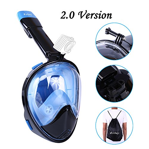 Snorkel Mask 2.0,Airbay New 180°Panoramic Full Face View and Easy Breath Surface Diving Design, Action GoPro Camera Compatible, Anti Fog & Anti Leak Snorkeling for Adult and (Warrior Full Face)