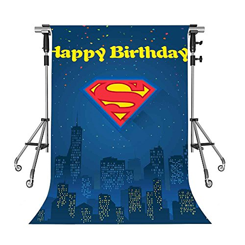 Meets 5x7ft Happy Birthday Backdrop Blue Superman Photography Background Themed Party Photo Booth Facebook YouTube Backdrop NANMT1165