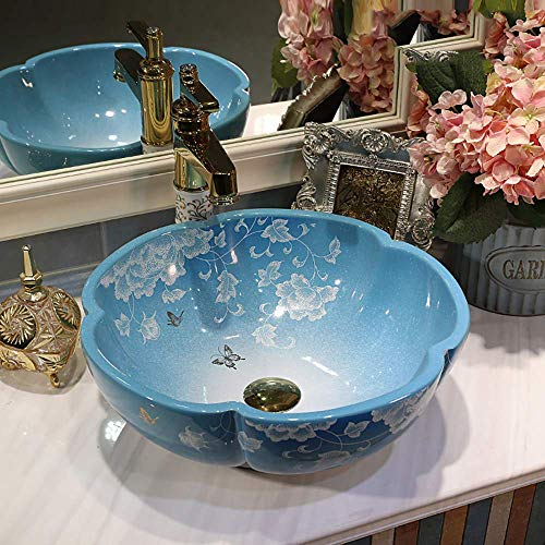 LIBINA Jingdezhen Ceramic Petal Wash Basin, European Modern Bathroom Art Wash Basin Washbasin,G