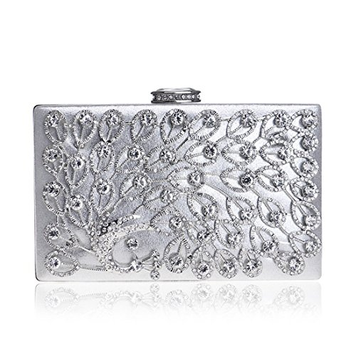 Wedding Diamonds Clutch Silver JESSIEKERVIN Purse Party Bag Bag Banquet Evening Peacock Ladies Dress 57v7W186