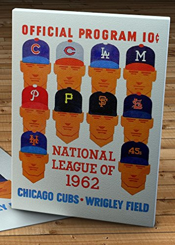 (1962 Vintage Chicago Cubs Baseball Program - National League - Canvas Gallery Wrap - 14 x 18 )