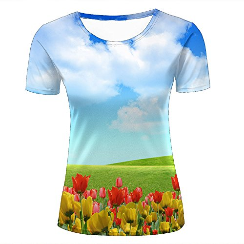 guangtumiao Womens Stylish Casual Design 3D Printed Beautiful colorful Tulips Pattern Short Sleeve T Shirts Tees L ()