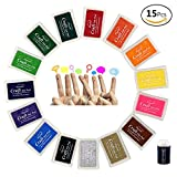 JUSLIN 15 Colors Crafts Ink Pads for Rubber Stamp DIY Scrapbooking and Card Making Decoration, with Coloring Sponge Tool as Gift