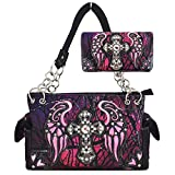 Western origin rhinestone Embroidery decoration Camouflage Shoulder Bag Totes Handbag With Wallet Set (Purple)