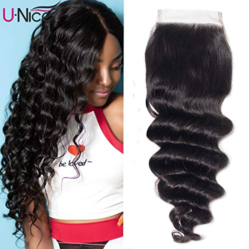 - UNice Hair 10A Brazilian Loose Deep Wave 4X4 Lace Closure Free Part, 100% Unprocessed Human Virgin Hair Loose Deep Curly Natural Color (20 inch)