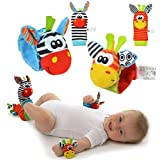 Daisy 4 Packs Animal Wrist Rattle & Foot Finder Set - Developmental Soft Toys for Infant Baby Kids Encourages Baby to Reach and Grab, Awakening Muscles