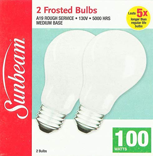 (Sunbeam Rough Service 100 Watt Incandescent Bulb - 2 Bulbs per Box)