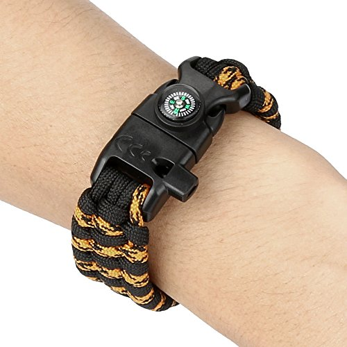 (Botrong New Fashion Paracord Survival Bracelet Flint Fire Starter Compass Whistle Wrist Outdoor (Camouflage))