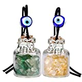 Lucky Elephants Magic Small Car Charms or Home Decor Gem Bottles Green Quartz Citrine Protection Amulets