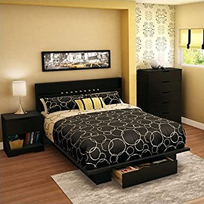South Shore Trinity Full Queen 4 Piece Bedroom Set in Pure Black by South Shore