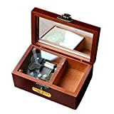 YouTang(TM) Retro Wooden 18-note Wind-up Musical Box Designed with Leather,Musical Toys,Tune:Edelweiss