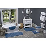 Maples Rugs Bathroom Rugs - Cloud Bath 30'' x 46'' Washable Non Slip Bath Mat [Made in USA] for Kitchen, Shower, and Bathroom, Federal Blue
