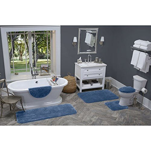 Maples Rugs Bathroom Rugs - Cloud Bath 30'' x 46'' Washable Non Slip Bath Mat [Made in USA] for Kitchen, Shower, and Bathroom, Federal Blue by Maples Rugs (Image #5)