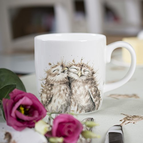 Wrendale Designs The Twits' Owl Mug by Royal Worcester Large 14 oz Bone China White color