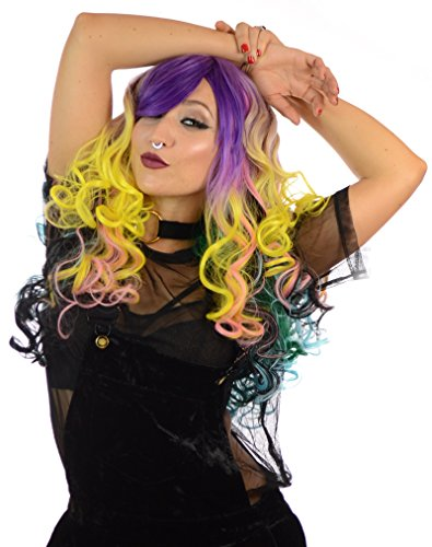 Judi-Doll Rainbow Multicoloured Long Curly Wig | Cosplay Halloween Party Hair (Halloween Costumes With Colored Wigs)