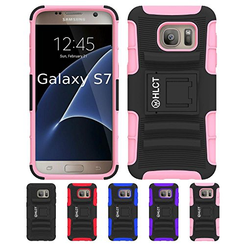 Galaxy S7 Stand Case, HLCT Rugged Shock-Proof Dual Layer PC and Soft Silicone Case with Built in Kickstand for Samsung Galaxy S7 (2016) (Pink) (Sf Pc)