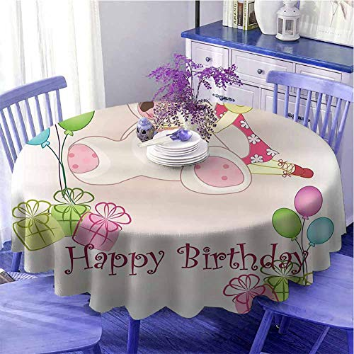 "UETECH Table Napkins Cloth Kids Birthday Baby Girl Birthday with Teddy Bears Toys Balloons Surprise Boxes Dolls Image Pale Pink Diameter 70"" from UETECH"