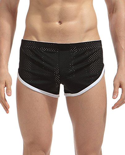 Yateen Men's Split Side Boxer Briefs Underwear Breathable Underpants,Black,X-Large
