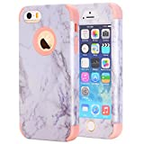 iPhone 5S Case, iPhone SE Case, Asstar 3 In 1 Flexible Slim Soft Silicone Hard PC Marble Design Shockproof Anti-Scratch Glossy Protective Cover Case for for Apple iPhone 5 5S SE (Rose Gold)