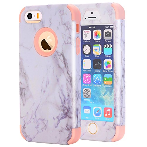 iPhone 5S Case, iPhone SE Case, Asstar 3 In 1 Soft Silicone Hard PC Marble Design Shockproof Anti-Scratch Glossy Protective Cover Case for for Apple iPhone 5 5S SE (Rose Gold)