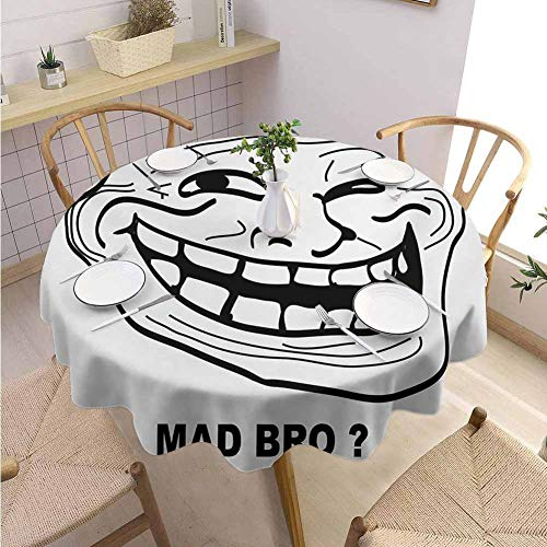 Restaurant Round Tablecloth Humor,Cartoon Style Troll Face Guy for Annoying Popular Artful Internet Meme Design,Black and White Holiday Dinner Picnic Kitchen D58