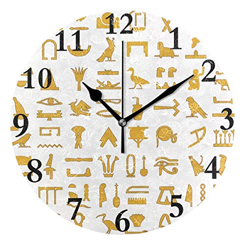 - FunnyCustom Round Wall Clock Ancient Egypt Egyptian Acrylic Creative Decorative for Living Room/Kitchen/Bedroom/Family