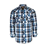 Coevals Club Men's Snap Button Down Plaid Long Sleeve Work Casual Shirt (Blue & Black #17, M)