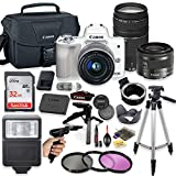 Canon EOS M6 Mirrorless Digital Camera (White) with EF-M 15-45mm Lens & EF 75-300mm Lens + Pro Lens Mount Auto Adapter – EOS (EF/EF-S to EF-M Mount) + Deluxe Accessory Bundle For Sale