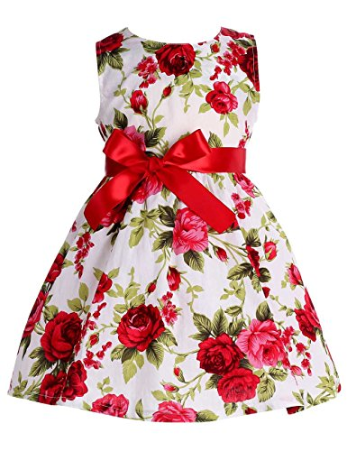 Pin Up Outfits (Fubin Kid Girl Floral Cotton Dresses Summer Clothes red rose Height 49''/4-5 years)