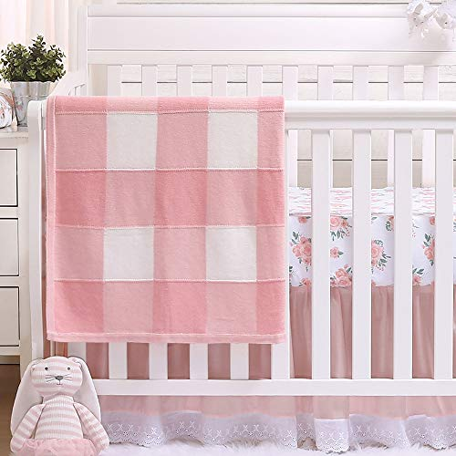 Farmhouse Pink 4 Piece Baby Crib Bedding Set - Rustic Country Theme ()