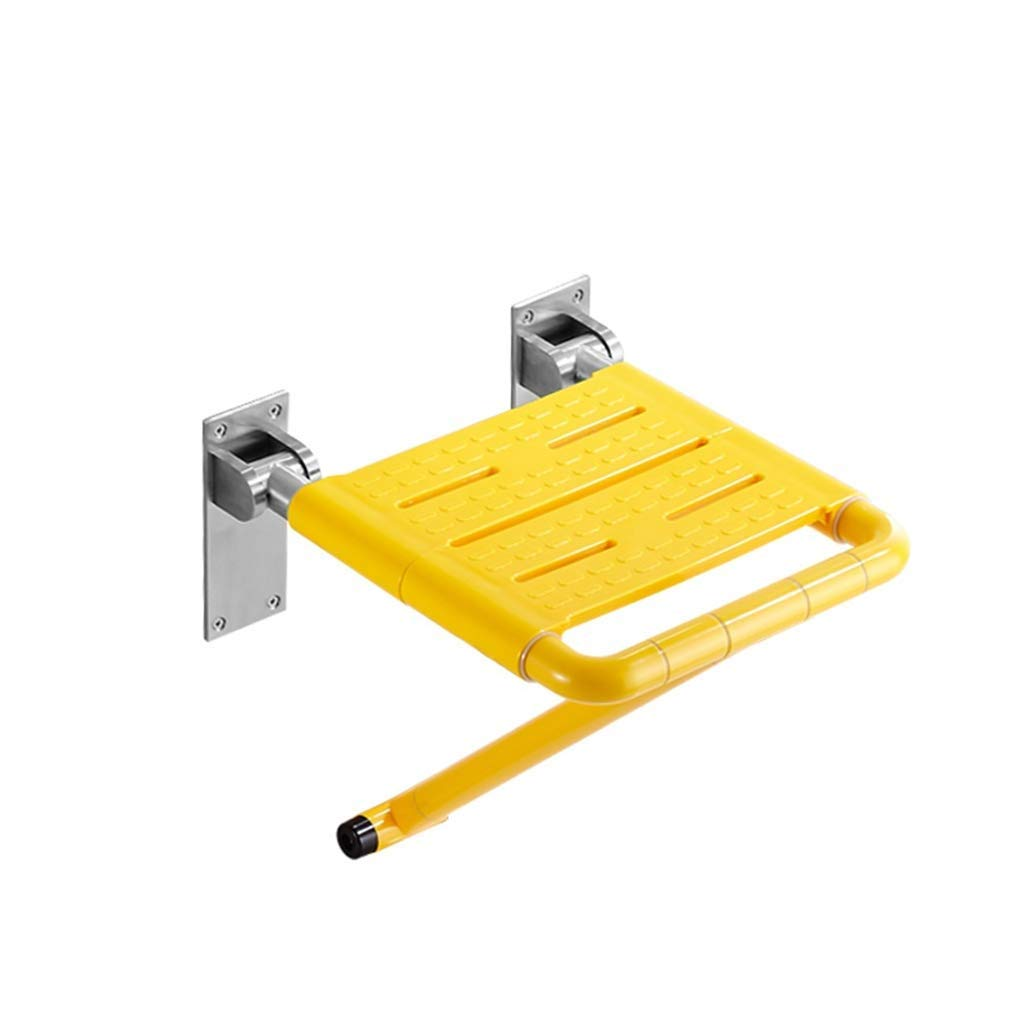 BEAUTY--shower stool Bathroom Elderly Folding Wall Stool Shower Room Widening Security/Anti-Skid, 2 Colors to Choose from (Color : Yellow)