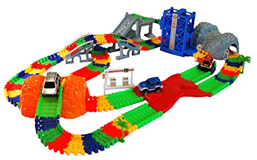 (MMP Living Super Snap Speedway - Deluxe Bend and Flex Track Set with 3 Electric Cars, Tunnels, Bridge, Elevator, ramp, Track Merge and Accessories - Over 318 Pieces)