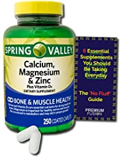 Calcium Magnesium & Zinc Plus - Vitamin D3 Coated Caplets, 250 Count from Spring Valley - Healthy Bones, Teeth, Nerve, Muscle, Heart & Immune Function + Vitamin Pouch and Guide to Supplements