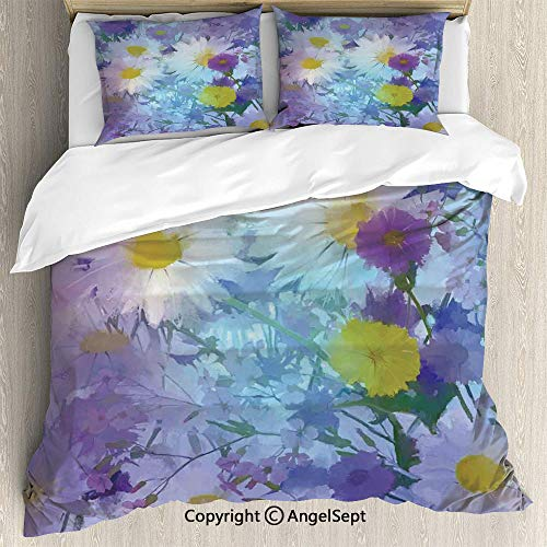 Dinette Set Pastel - AngelSept Bedding 3-Piece Set Duvet Cover Set,Vintage Flower in Pastel Color Fragrance Natural Bloom Beauty Print,Twin Size,1 Quilt Cover 2 Pillow Shams,Multi