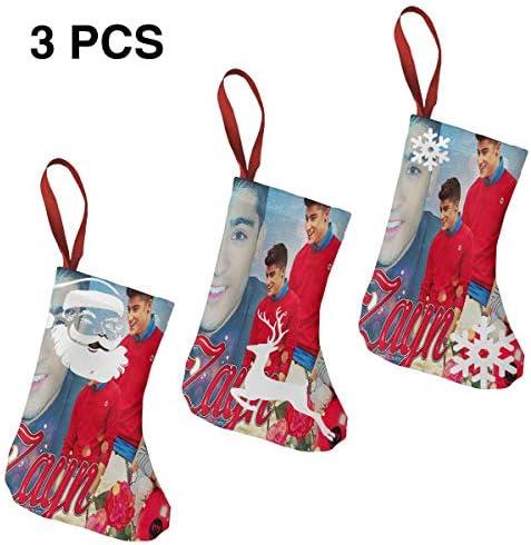 クリスマスの日の靴下 (ソックス3個)クリスマスデコレーションソックス ザイン マリクZayn Malik クリスマス、ハロウィン 家庭用、ショッピングモール用、お祝いの雰囲気を加える 人気を高める、販売、プロモーション、年次式