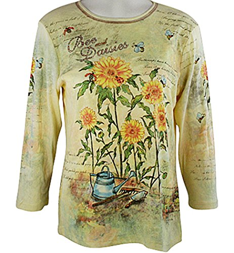 Cactus Fashion - Bees & Daises, 3/4 Sleeve, Rhinestone Studded, Artfully Printed Cotton Yellow Colored Womens Top