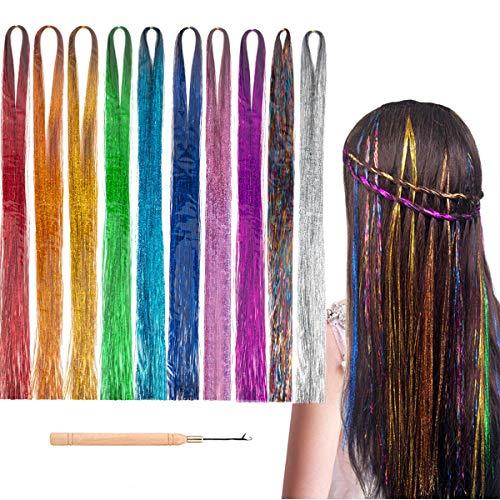 Kyerivs Haar Lametta 6000 Strähnen Farbiger Haarverlängerungs HFunkelnde Glänzende Extensions Multi-Farben Haar Streifen für Party Supplies Accessoires für Meerjungfrau Geschenke für Mädchen 10 Farben