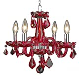 Deluxe 4 Light Modern Crystal Raindrop Chandelier By Ciata Décor – Contemporary Ceiling Light W/Solid Brass Frame Strawberry Red Finish – Ideal For Entrance Hall, Foyer, Dining & Living Room Review