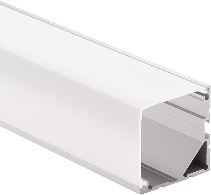 Aluprofil f/ür Stripes bis 26mm Breite Montageclips NORMA Aufbauprofil Aluminium eloxiert 2m x B milchig 2 Meter NORMA milchig 20mm L inkl 30mm x H Endkappen