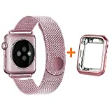 HONEJEEN Compatible with Apple Watch Band 38mm 40mm 42mm 44mm with Case, Stainless Steel Mesh with Adjustable Magnetic Closure Replacement for iWatch Band Series 4 3 2 1