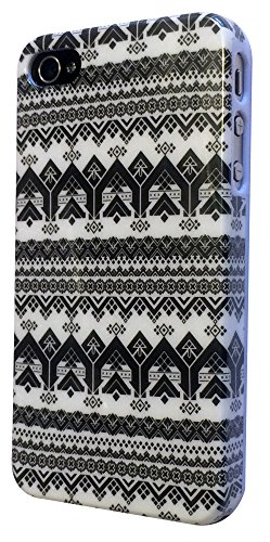 iPhone 4 4S Case cover Hard Gloss Hülle /Designer Stil Classic Aztec Tribal Tribe/-Ref 3