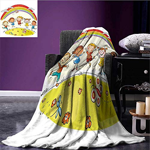 RenteriaDecor Rainbow Microfiber All Season Blanket Kids Jumping with Joy on a Hill Under Rainbow Cartoon Style Drawing Plush Throw Blanket Earth Yellow Multicolor Bed or Couch 70