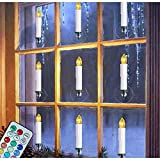 Flameless Taper Candles - Remote and Timers - 12 Colors Changing - Battery Operated Flickering LED Electric Candle Lights - Removable Tapers Pillar Candle Holders - Christmas Decorations - 10Pcs