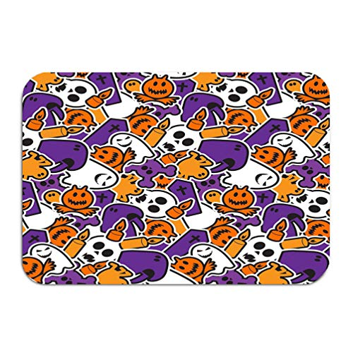 YILINGER Home Rectangle Non-Slip Rubber Mat 23.6x15.7 Happy Halloween Scary Horror Background Happy Halloween Scary Horror Background th -